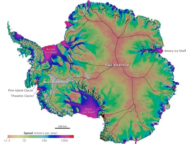 Motion of Antarctic Ice Rivers Mapped*