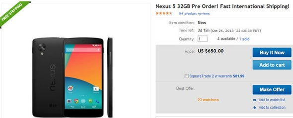 Nexus 5 preorder pops up on eBay