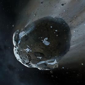illustration of a watery asteroid whose remains were found around a distant white dwarf star