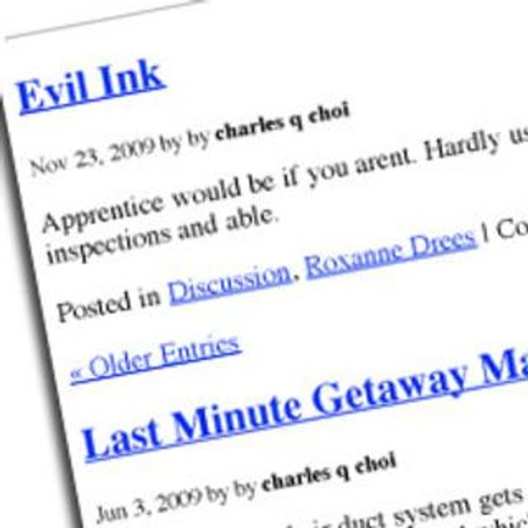 Evil Ink: A Robot Impersonator Opens a Blog to Post Spam from the Future