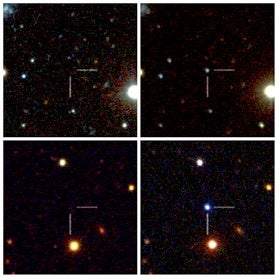 Before and after images of supernovae PTF09atu and PTF09cnd