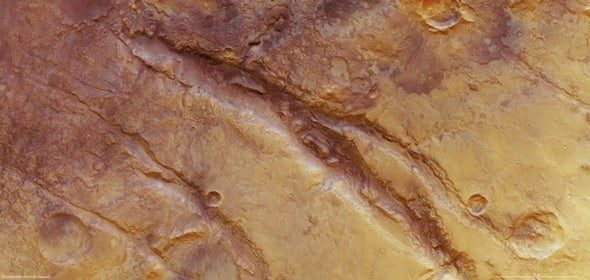 Stressed out: Mars Express reveals methane over tortured Martian terrain
