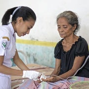 56-year-old Fransiska Kavori recovering from an attack of Plasmodium falciparum malaria at the Mebung Primary Health Centre at remote Alor Island in eastern Indonesia.