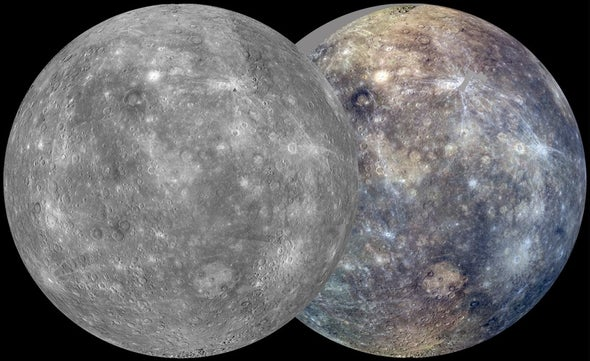 Mercury Takes Shape in Color and Monochrome Maps