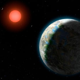 GJ 581 planetary system in an artist's conception