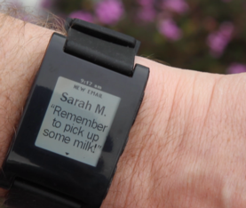 watch with email reminder displaying
