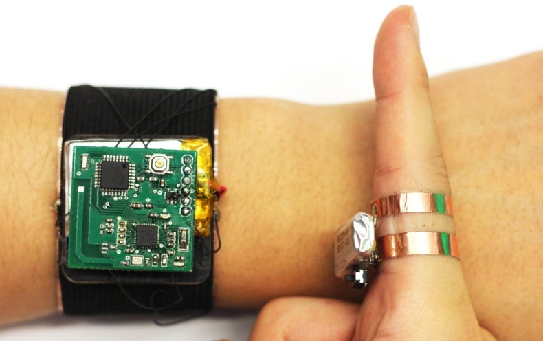 Developed at Carnegie Mellon Unviersity, SkinTrack is a system that converts skin into a touchpad. Credit: Carnegie Mellon University
