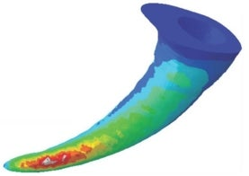 computer-generated image of a curved spider fang, with the tip orange and red fading into green and blue near the base