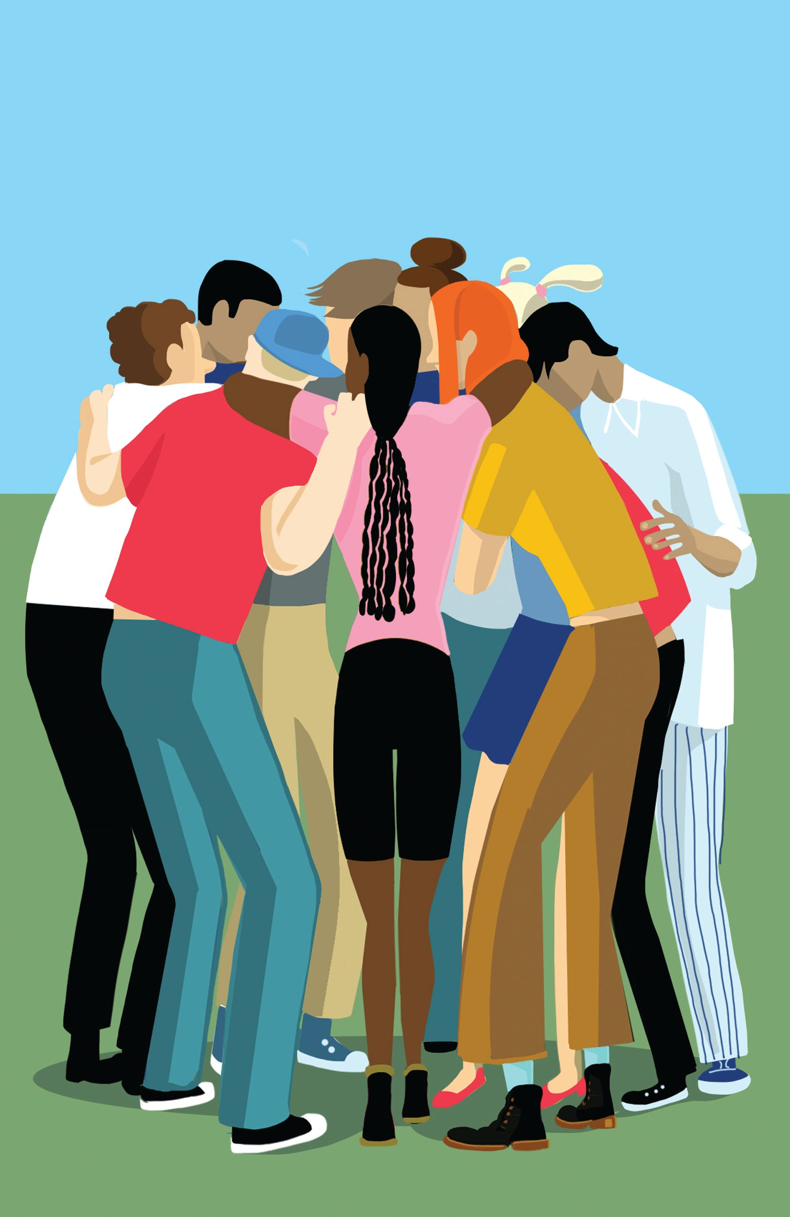 Group of adolescents hugging each other art concept.