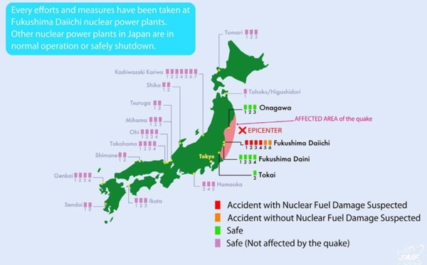 Map Reveals Status Of Japans  Nuclear Reactors Scientific - Us nuclear plant meltdown map