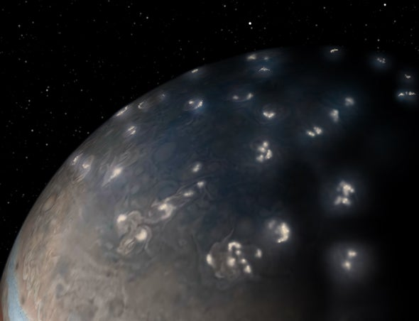 Jupiter Crackles with Polar Lightning