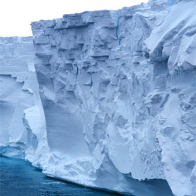 Edge of the Ross Ice Shelf as seen by the NATHANIEL B. PALMER. 1997 December.
