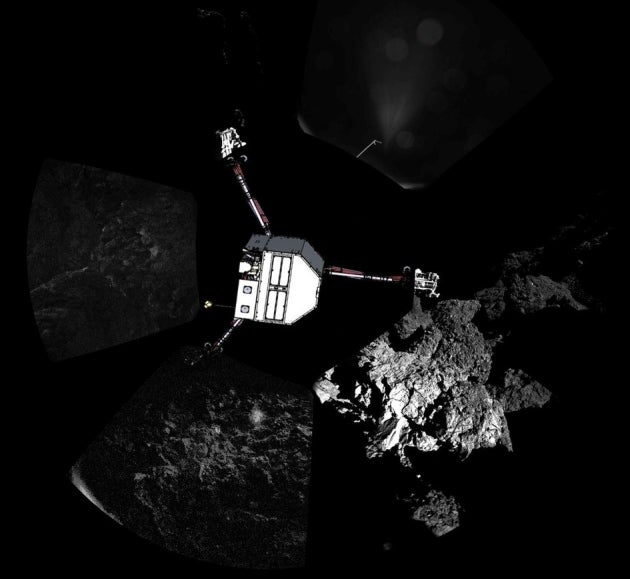 Comet Lander Stuck against Bottom of Shady Cliff