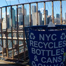 recycle bin on Brooklyn Bridge