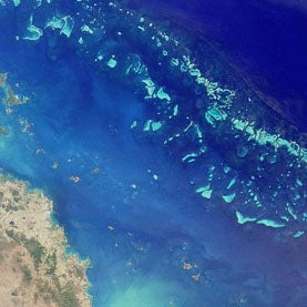 image of great barrier reef from above