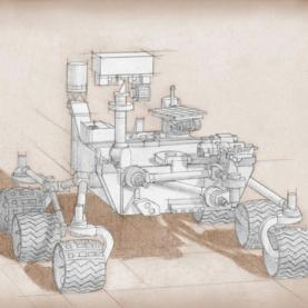 sketch of NASA's Mars 2020 rover
