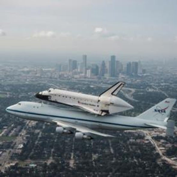 Space Shuttle <i>Endeavour</i> Leaves Houston on Last Journey West