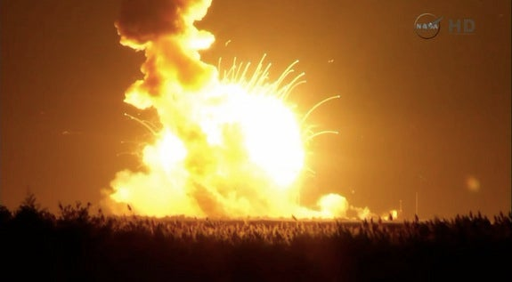 Unmanned Supply Rocket Explodes Seconds after Liftoff