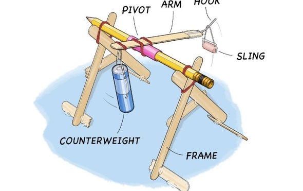 Build a mini trebuchet scientific american for Catapult design plans for physics