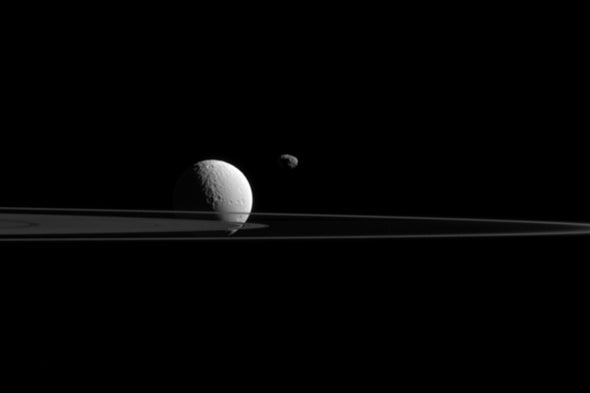 Rings of Saturn and 2 Moons Shine in Gorgeous NASA Photo