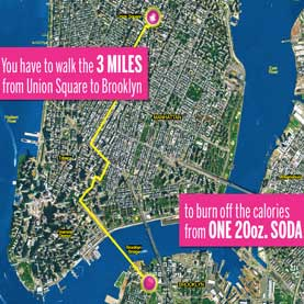 NYC map shows walking distances for burning calories