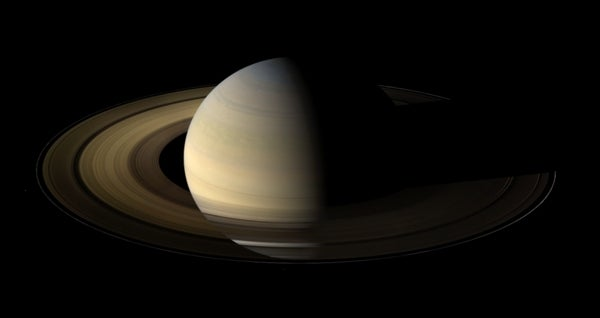 Cassini spacecraft panorama of Saturn at equinox yields unique view of rings