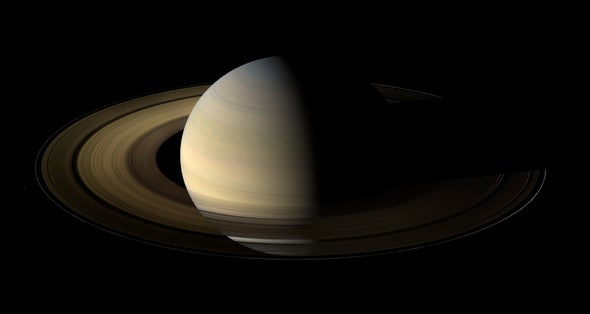 Cassini spacecraft panorama of Saturn at equinox yields unique view of rings