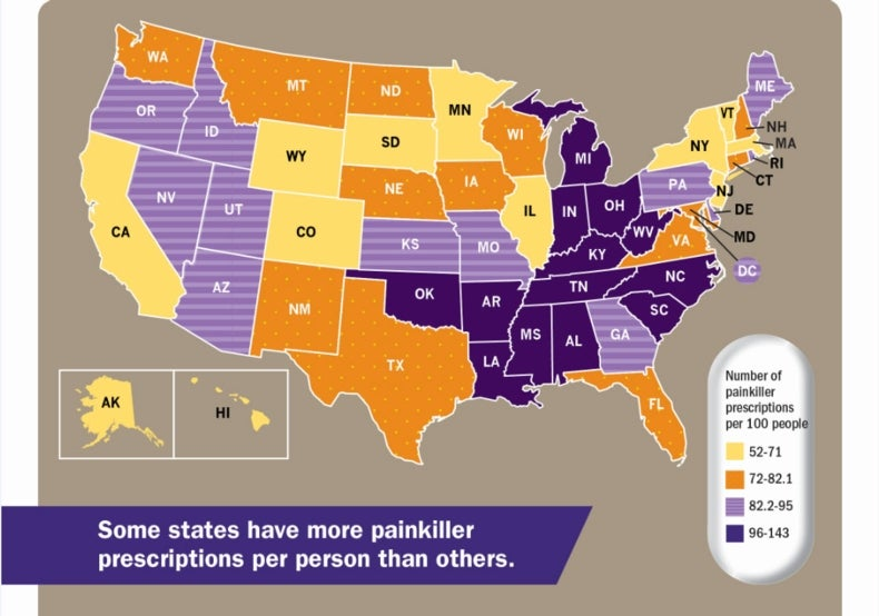 Southern States Have The Highest Painkiller Prescription Rates - Drug addiction us map by styate