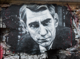"Painted portrait of Claude Shannon, the ""father of information theory"""