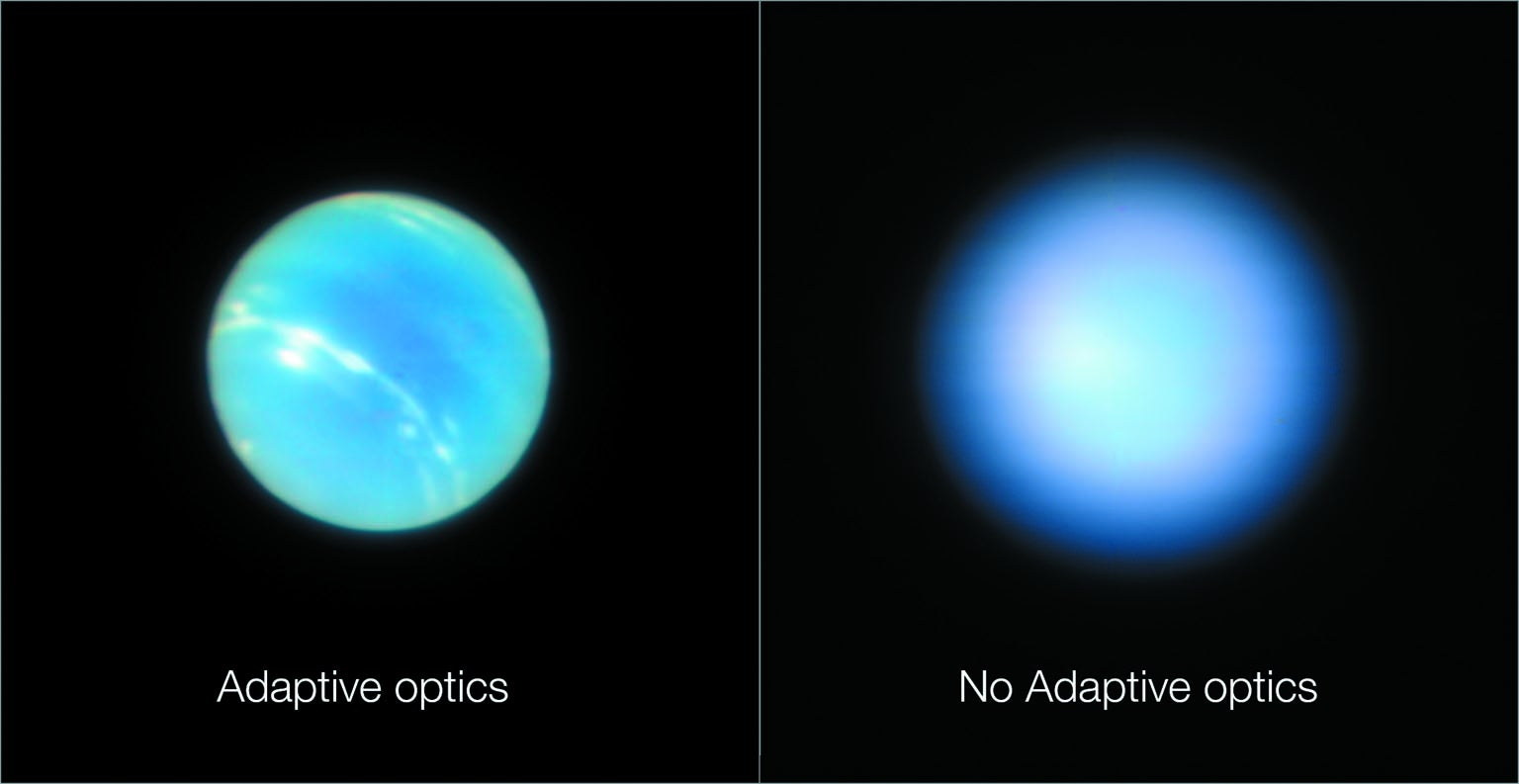 Two images of the planet Neptune taken by the Very Large Telescope