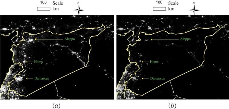Satellite View of Spreading Darkness in Syria Reveals Worsening
