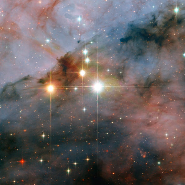Stellar giants caught by Hubble's lens