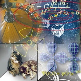 collage of quantum physics images: cats, roulette wheel, orbitals