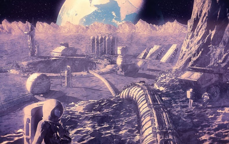 Illustration of future human existence on the moon