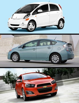 Electric Mitsubishi Miev, Toyota's Plug-in Hybrid Prius, Chevy Sonic