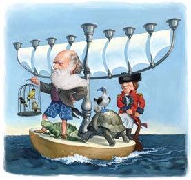 Charles Darwin, Darwin and animals on bagel,