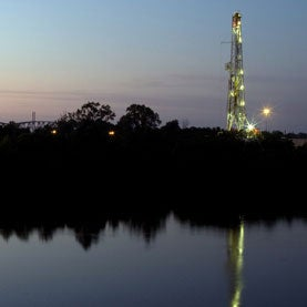 Fracking at a natural gas shale in Shreveport, Louisiana. Natural gas drilling on a natural gas rig.