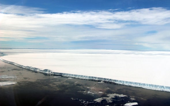 Enormous Iceberg Pirouettes after Splitting from Ice Shelf