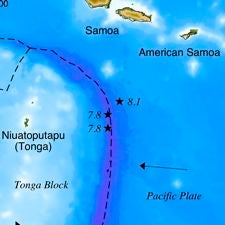 Map of the 2009 South Pacific earthquakes