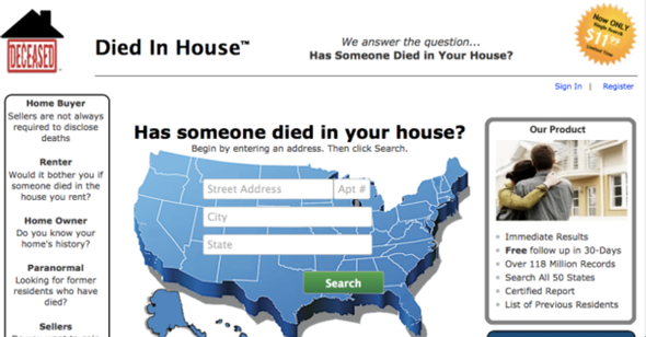 The site that claims to know if someone died in your house