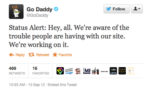 Go Daddy-Serviced Web Sites Taken Down in Apparent DDoS Attack