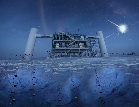 """Neutrinos on Ice: Astronomers' Long Hunt for Source of Extragalactic """"Ghost Particles"""" Pays Off"""
