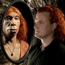 redheaded neandertal in mirror