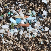Microplastic on the shore of Kamilo Beach on the Big Island of Hawaii.