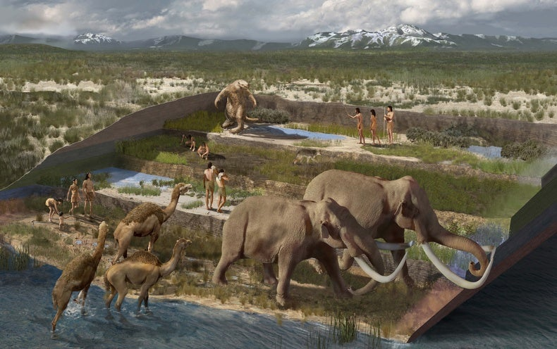 The tale is embedded in the footprints. Along the edges of a vanished ice age lake are the fossilized tracks of people who lived among the mammoths, g