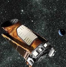 An artist's interpretation of the Kepler observatory in space.