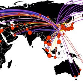 Flight routes map
