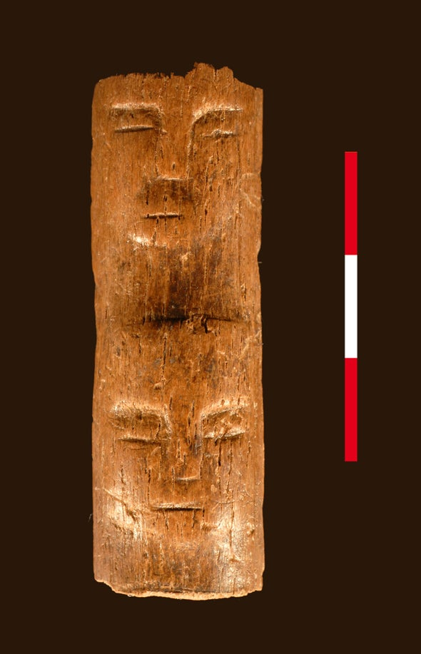 """Ancient """"Ritual Wand"""" Etched with Human Faces Discovered in Syria"""