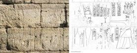 image of old stones with faint hieroglyphic carvings and a drawing of the carvings