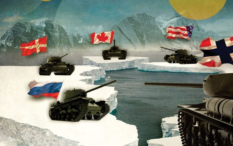 Illustration of five tanks with flags from U.S., Canada, Denmark, Norway, and Russia
